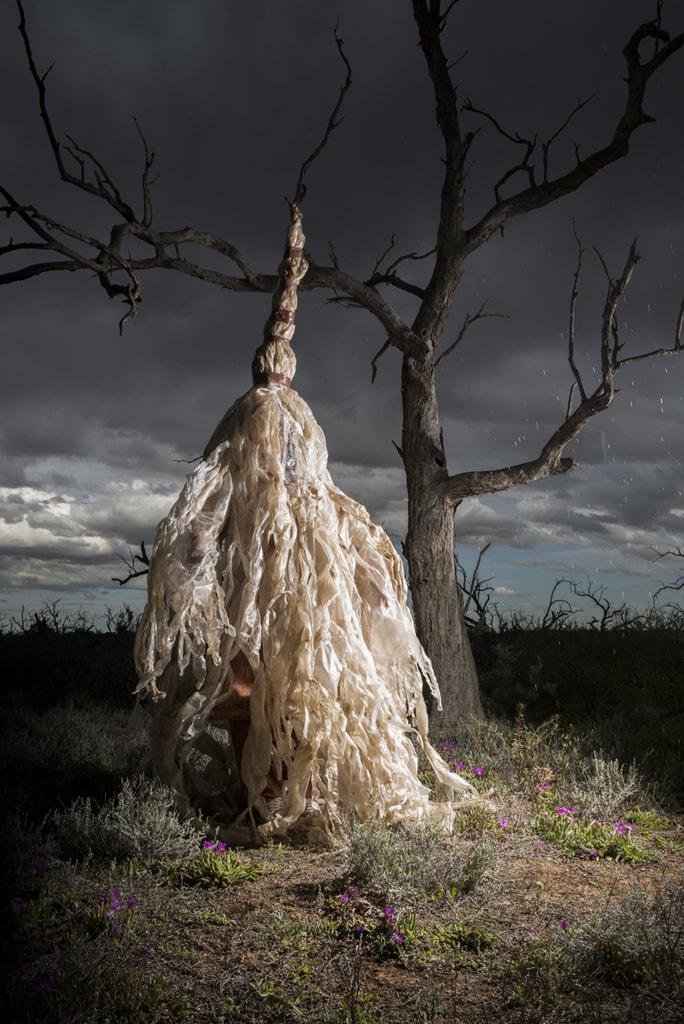 Flood, Berri Salt Plains, S.A. River Rites. Concept and Artistic Direction Jude Anderson Punctum Inc. 2015 Costume Glenys Leske
