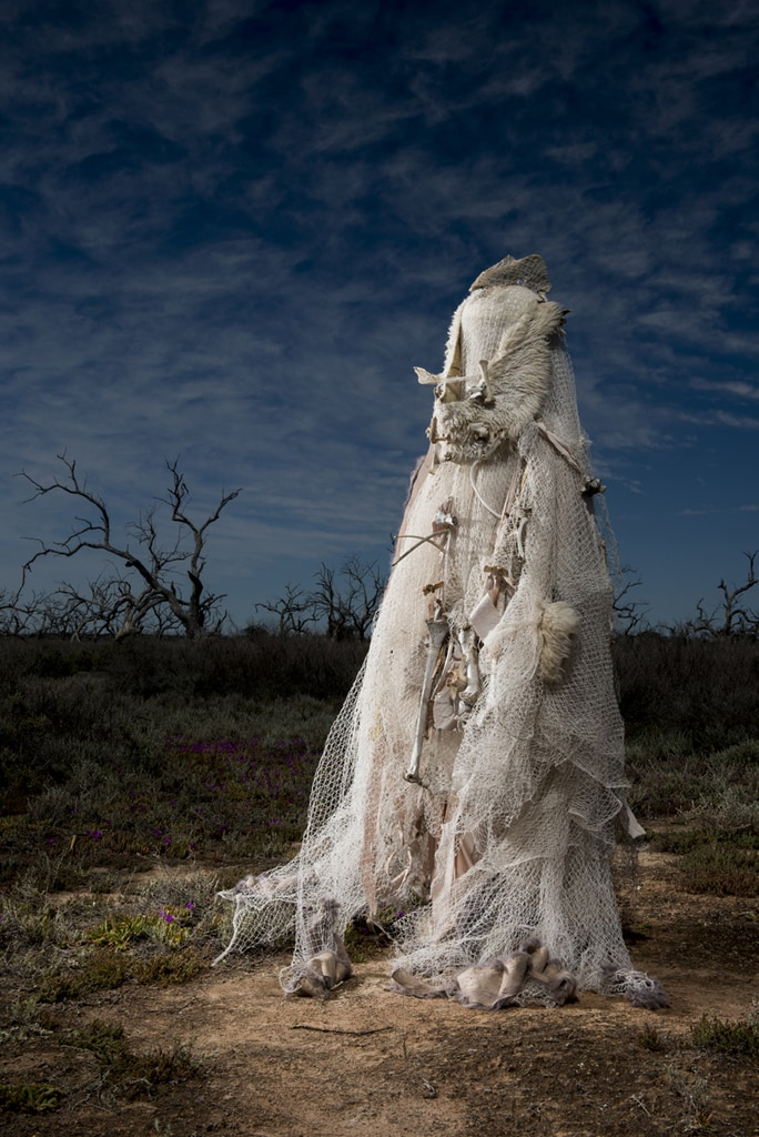 Salt, Berri Salt Plains, S.A. River Rites. Concept and Artistic Direction Jude Anderson Punctum Inc. 2015 Costume Robyn Andrews in collaboration with Nici Wright.